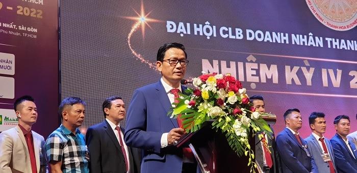 Ông Trịnh Tiến Dũng – Chủ tịch Tập Đoàn Cơ Khí Đại Dũng – Chủ tịch CLB Doanh Nhân Thanh Hóa nhiệm kỳ 4 phát biểu tại hội nghị.